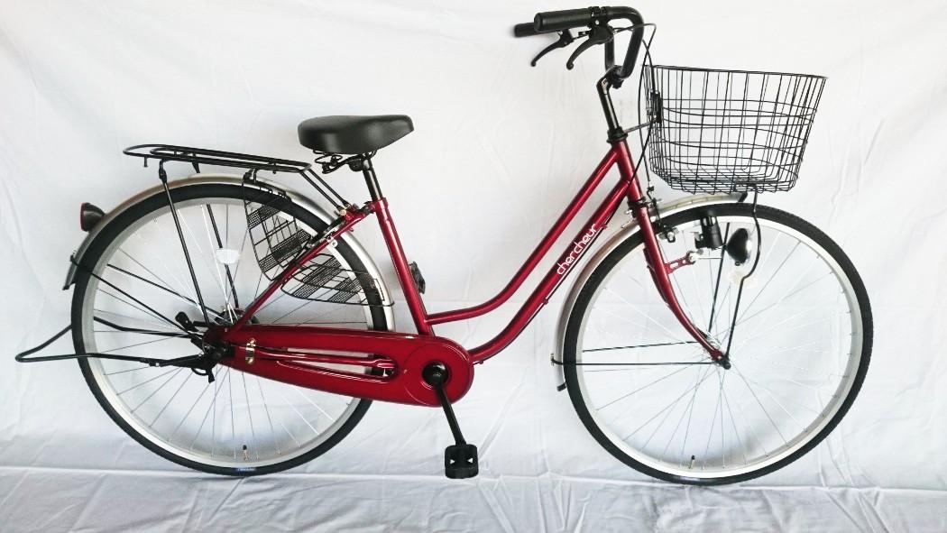 自転車 パンクに強い ママチャリ SUNTRUST サントラスト 軽快車 ワインレッド/赤 通勤 通学 買い物に最適 27インチ 自転車 ママチャリ 270耐パンク パンクしにくい 激安 格安