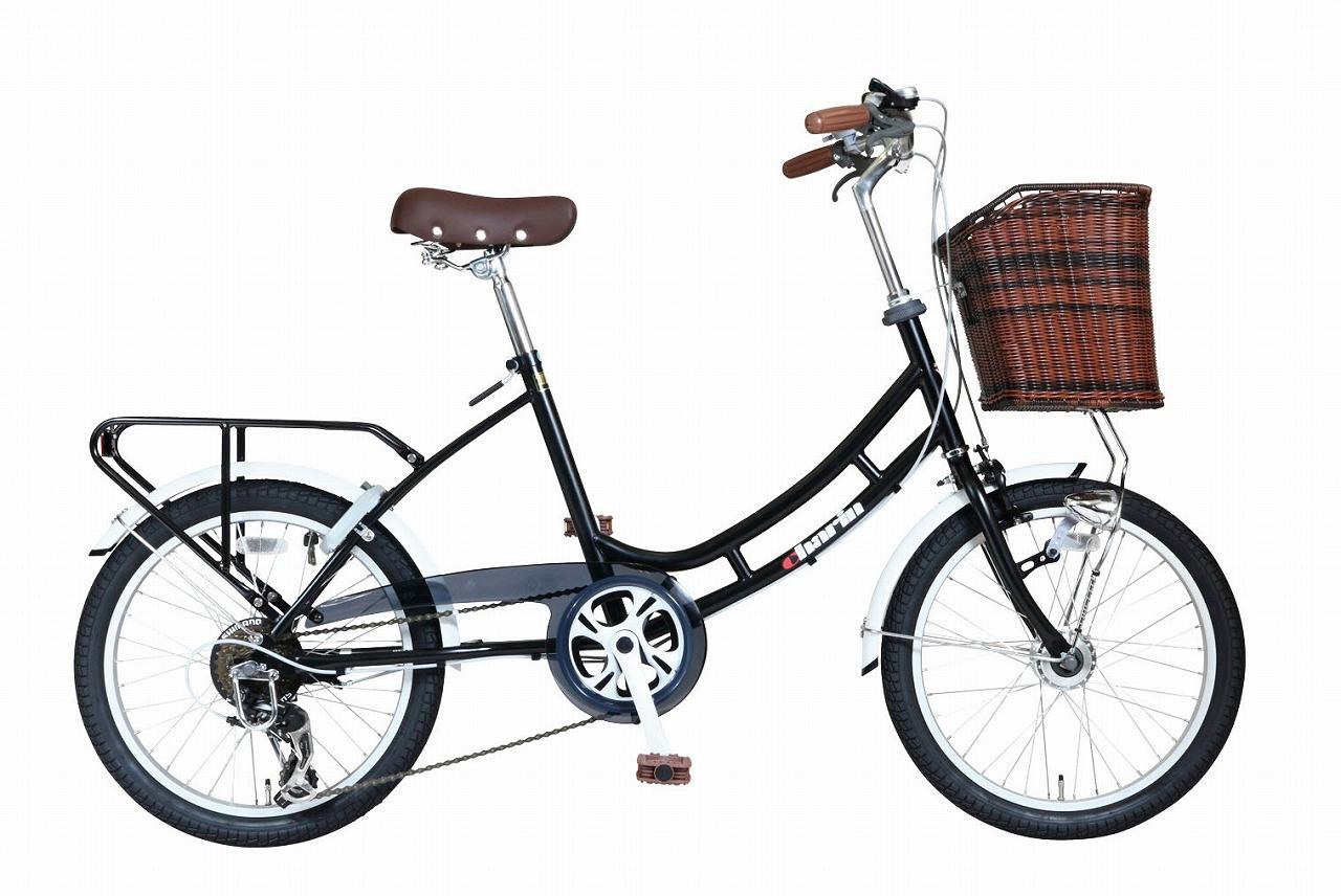 ミニベロ 自転車HB-206LCOM-Charin-BK マットブラック 20インチ 20型 6段変速ギア オートライト コンパクト自転車 小径車 黒 低床フレーム ロングホイールベース AEROCOMPACT カゴ付き