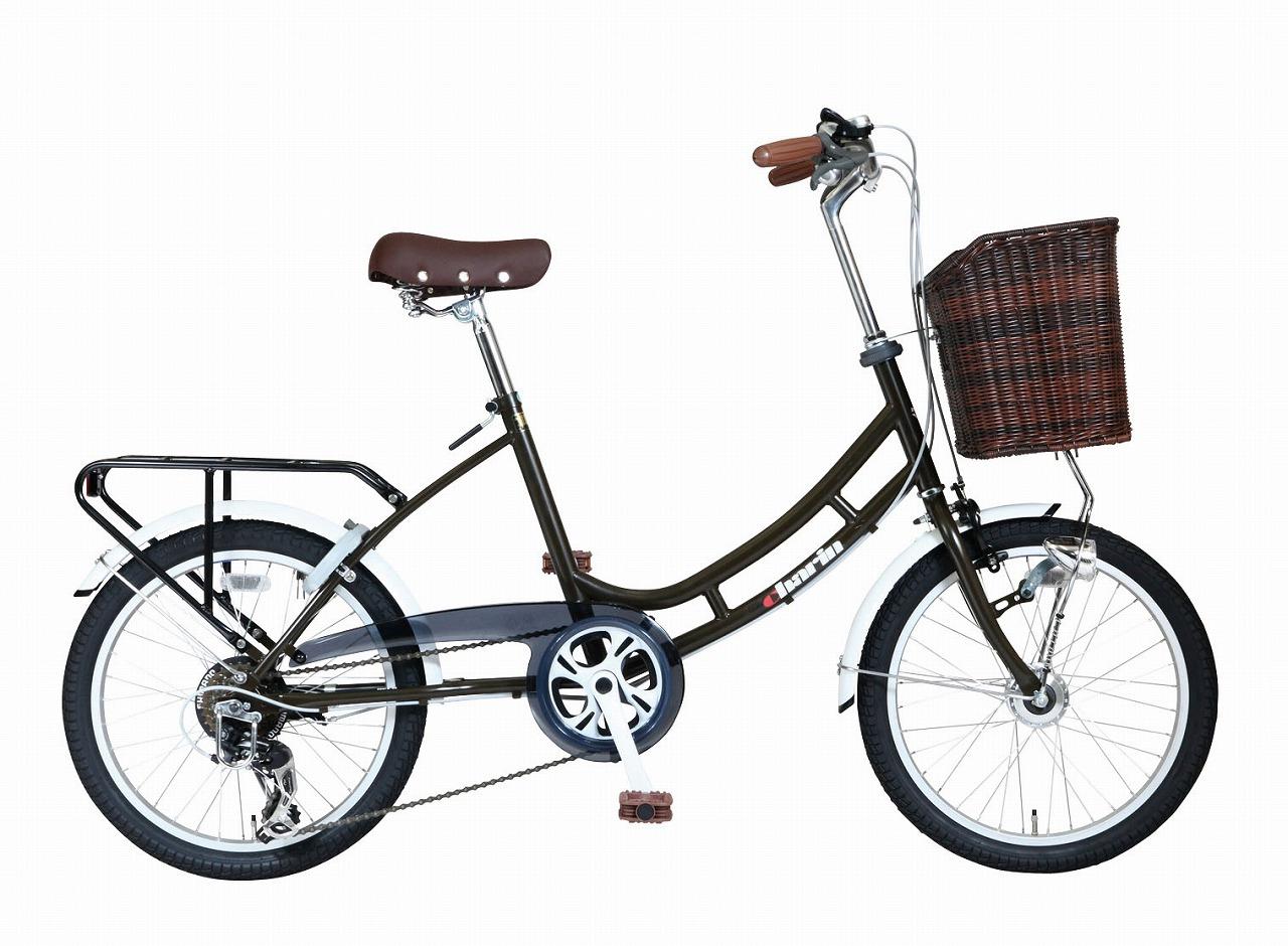 ミニベロ 自転車HB-206LCOM-Charin-BK マットブラウン 茶色 20インチ 20型 6段変速ギア オートライト コンパクト自転車 小径車 低床フレーム ロングホイールベース AEROCOMPACT カゴ付き