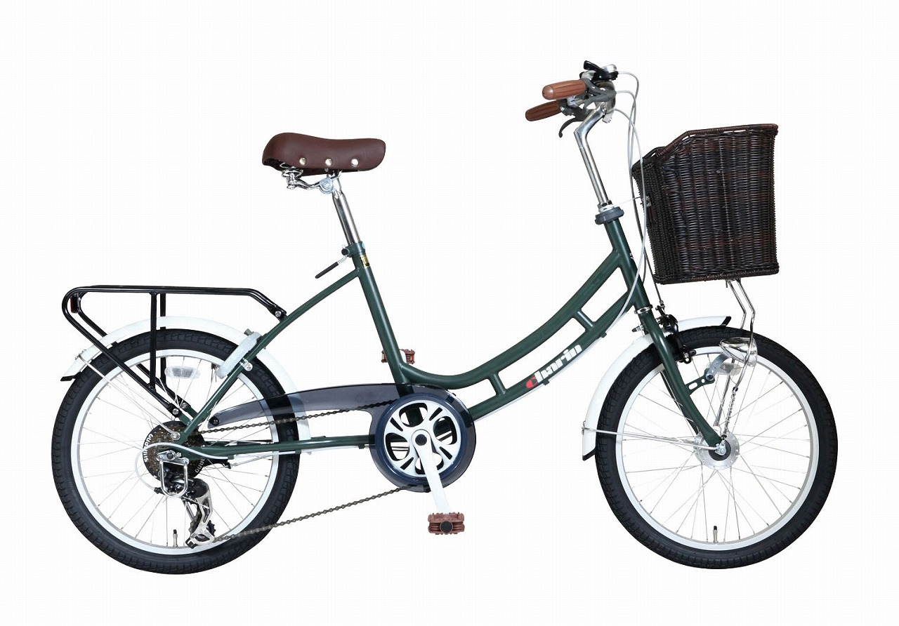 ミニベロ 自転車HB-206HB-206LCOM-Charin-GR マットグリーン 緑色 20インチ 20型 6段変速ギア オートライト コンパクト自転車 小径車 低床フレーム ロングホイールベース AEROCOMPACT カゴ付き