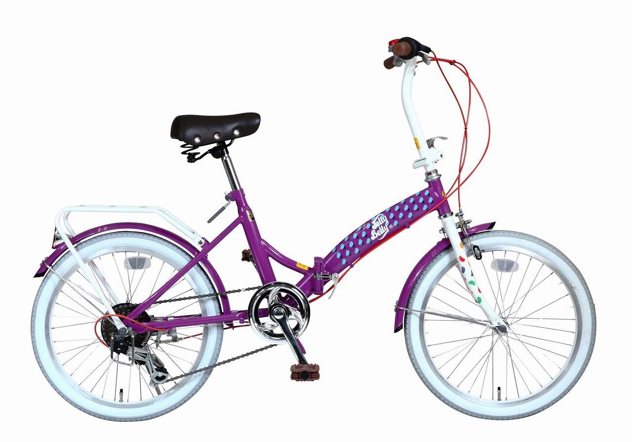 ジェリーベリー フォールディングバイク 折りたたみ自転車 20インチ 外装6段ギア 折り畳み自転車 自転車 ギア付き パープル ホワイト 紫 白 TJB-206FD-PP/W