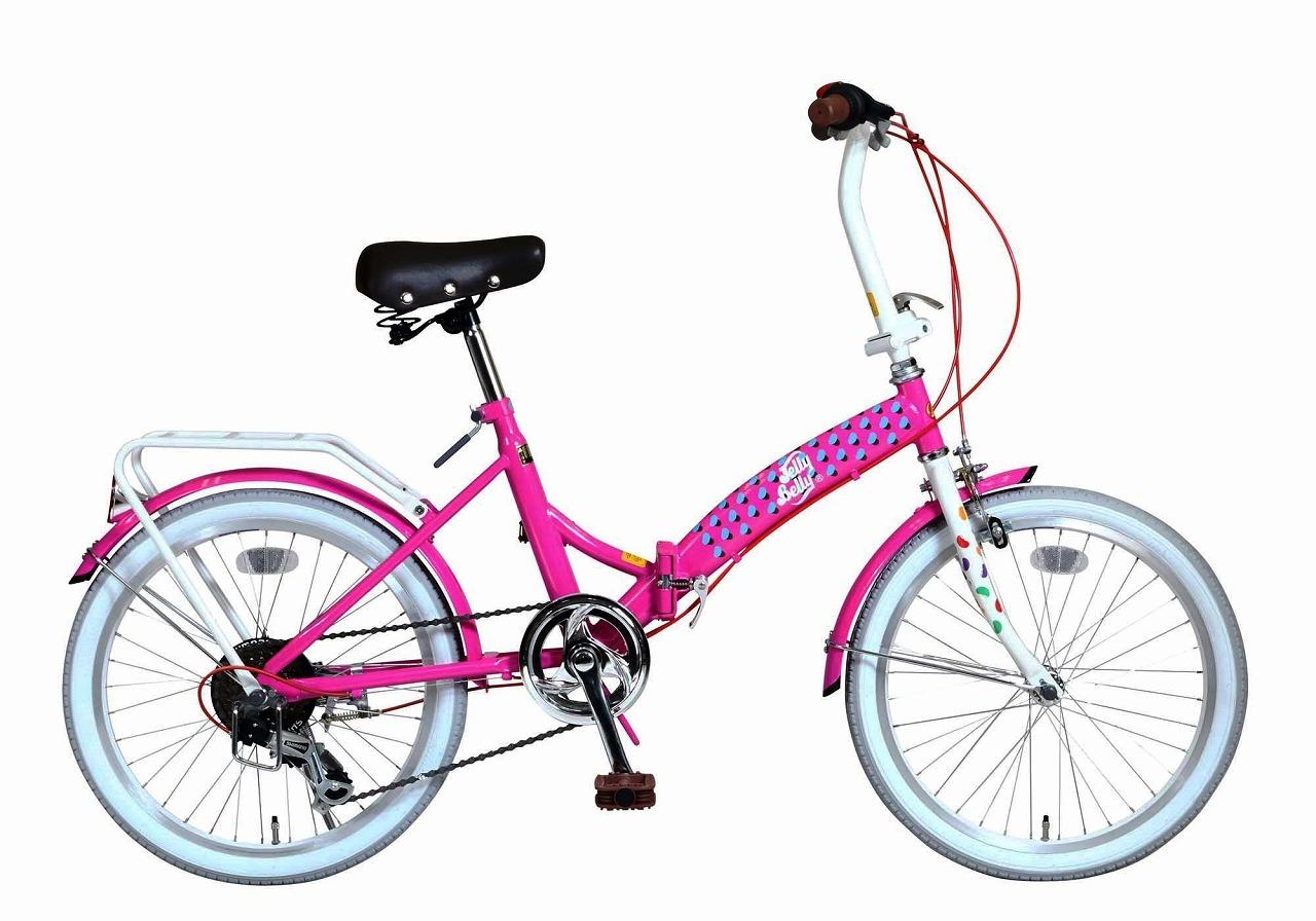 ジェリーベリー フォールディングバイク 折りたたみ自転車 20インチ 外装6段ギア 折り畳み自転車 自転車 ギア付き ピンク ホワイト 桃色 白 TJB-206FD-PI/W