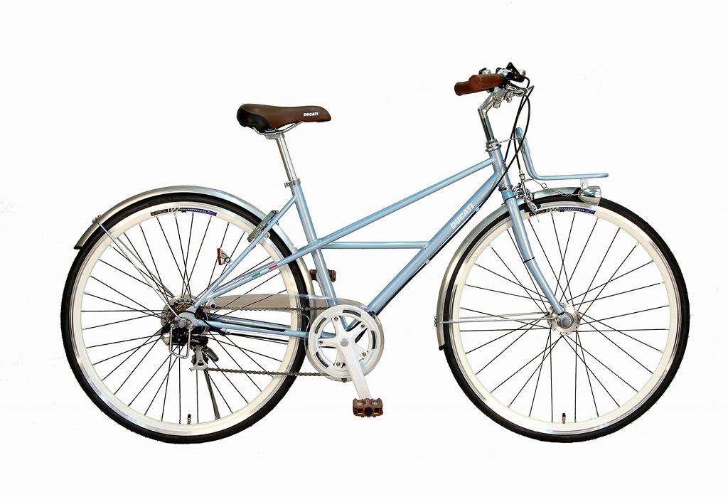 ドゥカティ シティクロス シティサイクルとクロスバイクの中間 700c 外装7段ギア 自転車 ギア付き アクアブルー 水色 DUCATI TOWN SPORT TDT-707 7S/700C 軽量 オートライト