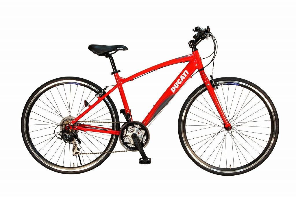 ドゥカティ クロスバイク 700c 外装21段ギア 自転車 ギア付き レッド 赤 アルミフレーム DUCATI URBAN CROSS TDX-721 21S/700C 軽量