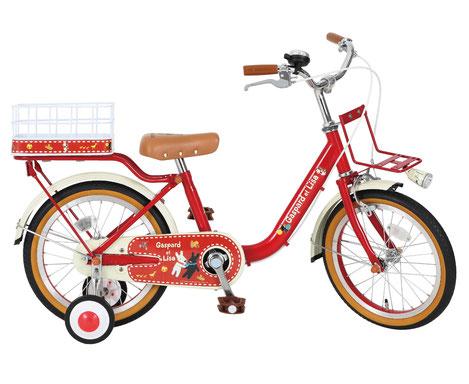 子供用自転車 リサとガスパール 16インチ 赤 レッド 適応身長101cm~119cm 補助輪付き かご付き 子供自転車 幼児 男の子キッズ 自転車 ジュニア
