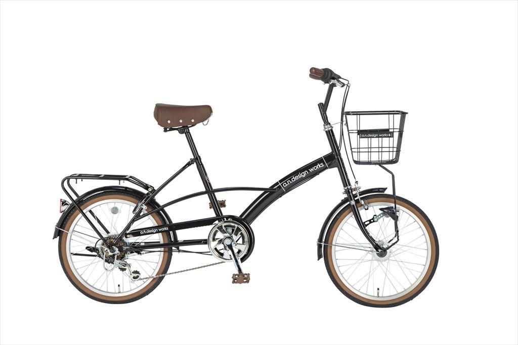 折りたたみ自転車 20インチ 6段ギア 206a.n.design works Mini HD エーエヌデザインワークス MVL206-HD 折りたたみ自転車 外装6段変速ギア LEDオートライト ブラック