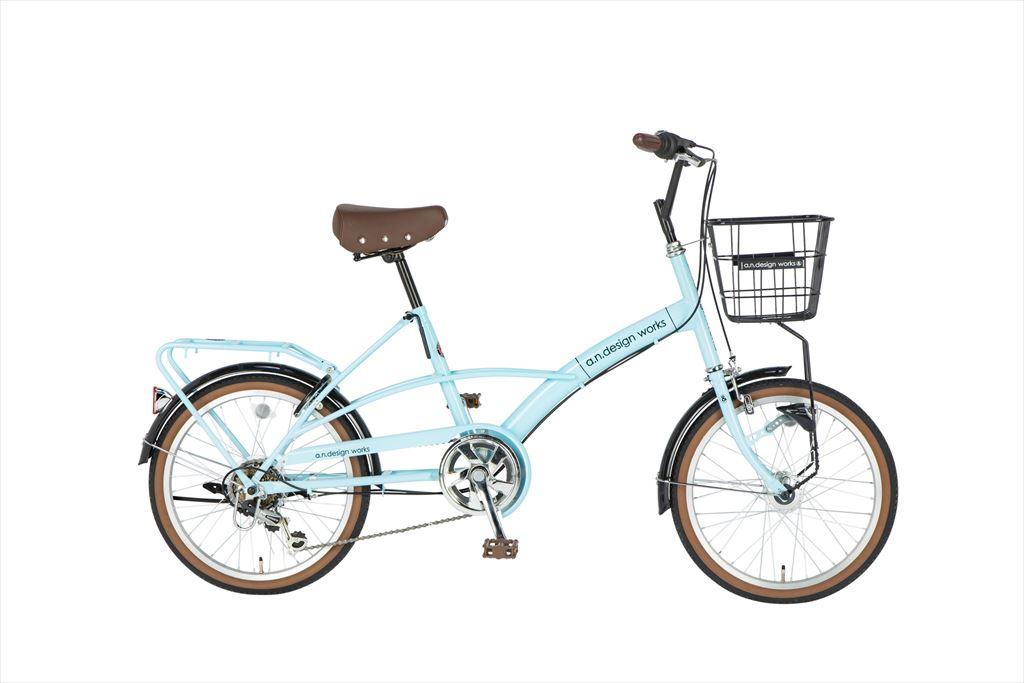 折りたたみ自転車 20インチ 6段ギア 206a.n.design works Mini HD エーエヌデザインワークス MVL206-HD 折りたたみ自転車 外装6段変速ギア LEDオートライト ブルー