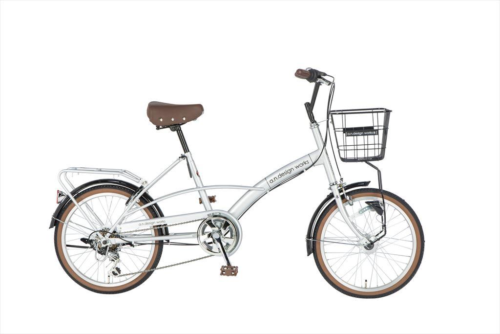 折りたたみ自転車 20インチ 6段ギア 206a.n.design works Mini HD エーエヌデザインワークス MVL206-HD 折りたたみ自転車 外装6段変速ギア LEDオートライト ホワイト