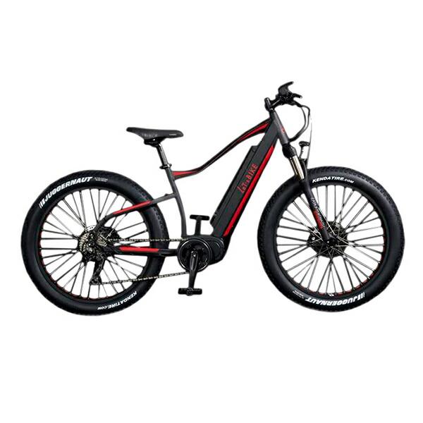 電動自転車 配送先一都三県一部地域限定送料無料 ファットバイク 26インチ マウンテンバイク 外装10段変速ギア E-Bike FATEMTB ブラック×レッド Let'sbike