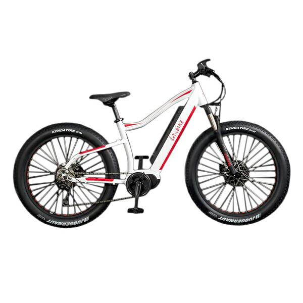 電動自転車 配送先一都三県一部地域限定送料無料 ファットバイク 26インチ マウンテンバイク 外装10段変速ギア E-Bike FATEMTB ホワイト×レッド Let'sbike