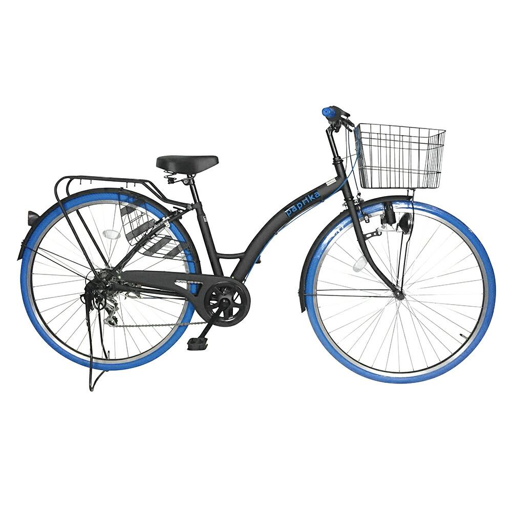 自転車 27インチ 6段変速ギア ママチャリ シティサイクル 赤 自転車 おしゃれなカラータイヤ paprika パプリカ シティサイクル ブルー 青色 通勤 通学に最適 27インチ シティ車 外装6段ギア カラータイヤ 目立つかっこいいママチャリ 自転車