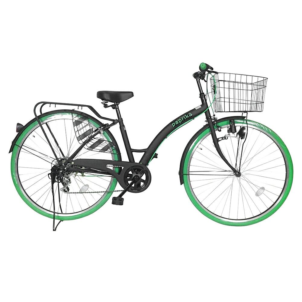 次回入荷未定 自転車 カラータイヤ paprika パプリカ シティサイクル グリーン/緑色 通勤 通学に最適 27インチ シティ車 外装6段ギア カラータイヤ 目立つかっこいいママチャリ 自転車