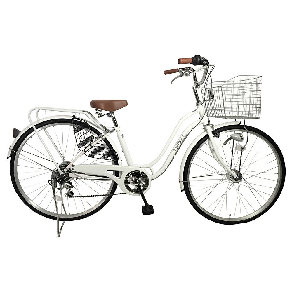 7月上旬以降発送 自転車 デザインフレーム ママチャリ ホワイト 白 通勤 通学 買い物に最適なママチャリ 27インチ 自転車 外装6段ギア ママチャリ オートライト SSフレーム 女性におすすめの安全性抜群の自転車