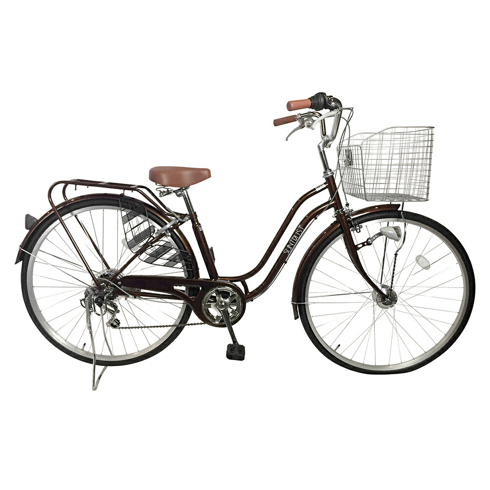 自転車 ママチャリ デザインフレーム UNTRUST サントラスト 軽快車 ブラウン/茶色 通勤 通学 買い物に最適 27インチ ママチャリ 外装6段ギア オートライト SSフレーム 女性にお勧めの安全性抜群の自転車