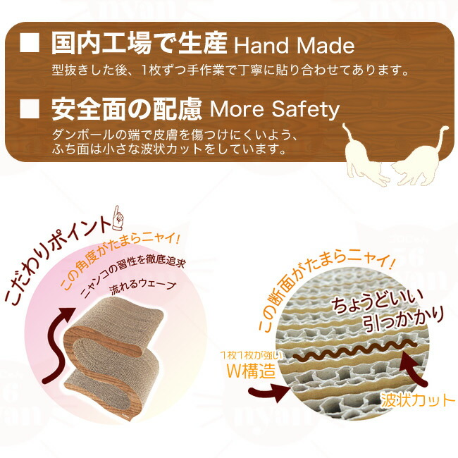 ペッツルート にゃんこのS字 爪とぎ ウッディ ダンボール 日本製