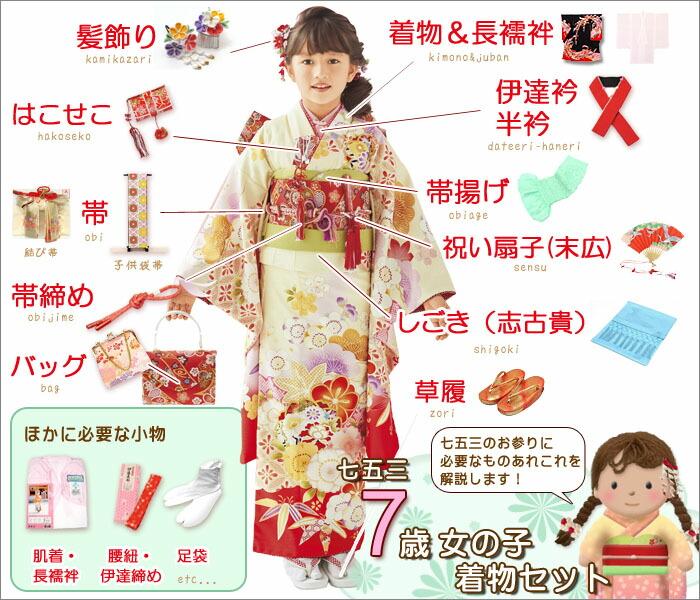 七五三 7歳女の子の着物の着付けに必要なアイテム