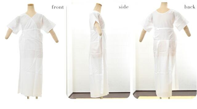 【和装下着】ガーゼ 着物スリップ ワンピース 裾折り返し仕立て s〜2L