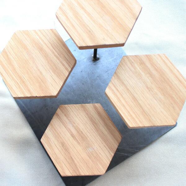 ウッドディスプレイステージ 六角形アップ