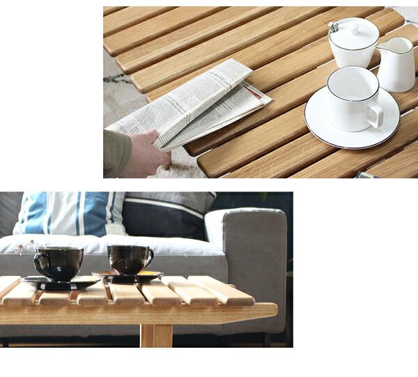 ソロスラットコーヒーテーブル ややズーム画像