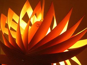 温かく燈る木目の照明