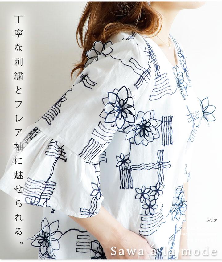 立体花刺繍フレア袖トップス【8月24日11時再入荷】