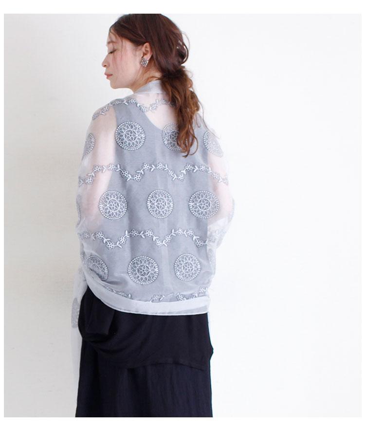 刺繍とグラデーションのシルク地ストール【6月12日8時販売新作】