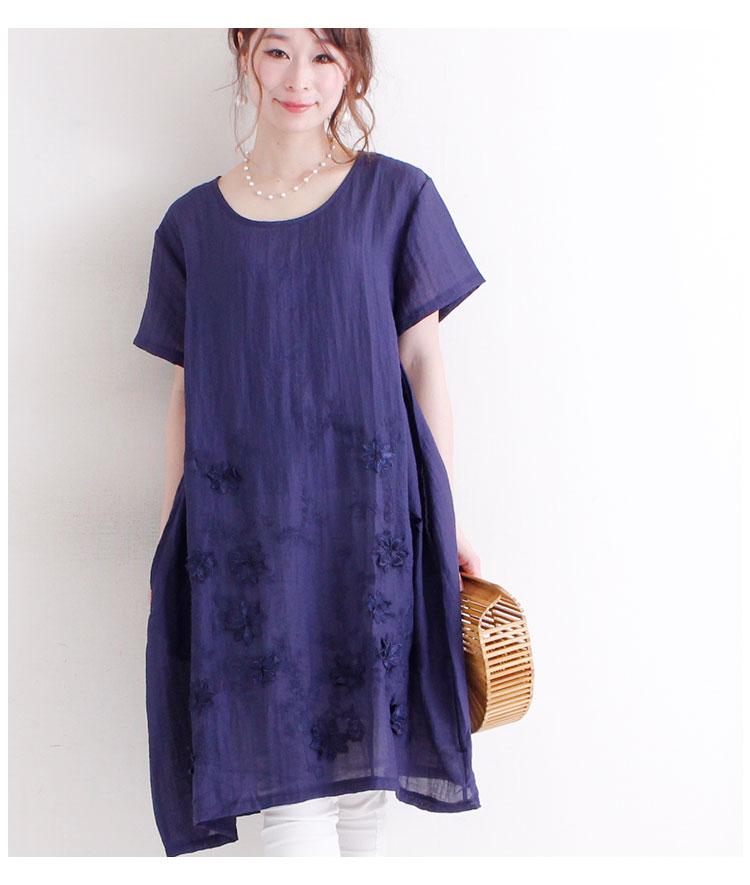 立体花刺繍の涼感半袖ワンピース【6月12日8時販売新作】