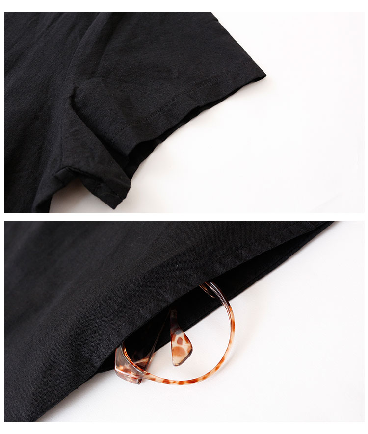 ボタニカル刺繍のリネンコットン半袖ワンピース【6月10日8時販売新作】