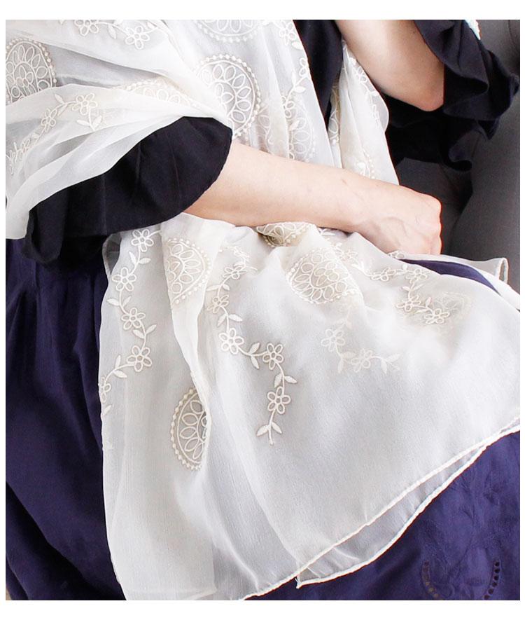 エレガントな花刺繍のロングストール【10月7日8時販売新作】
