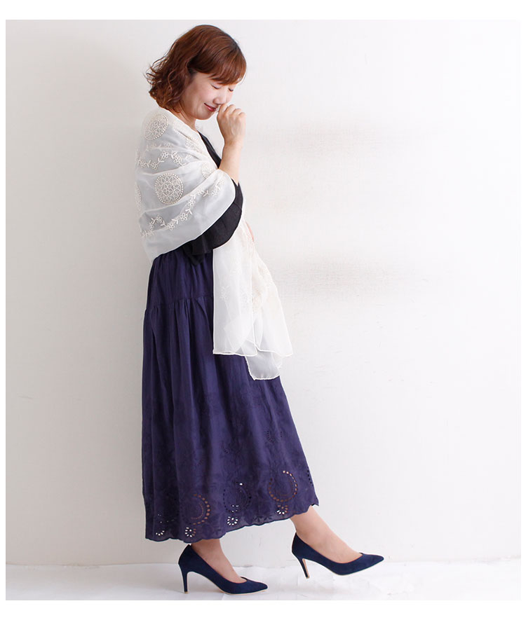 エレガントな花刺繍のロングストール【6月19日8時販売新作】