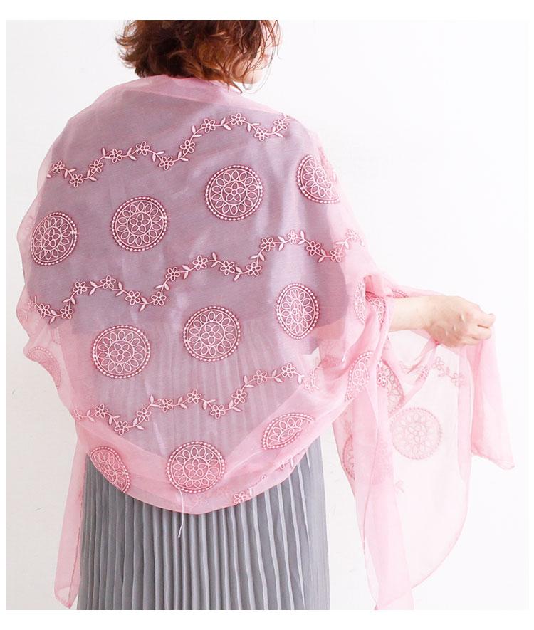 エレガントな花刺繍のロングストール【6月26日8時販売新作】