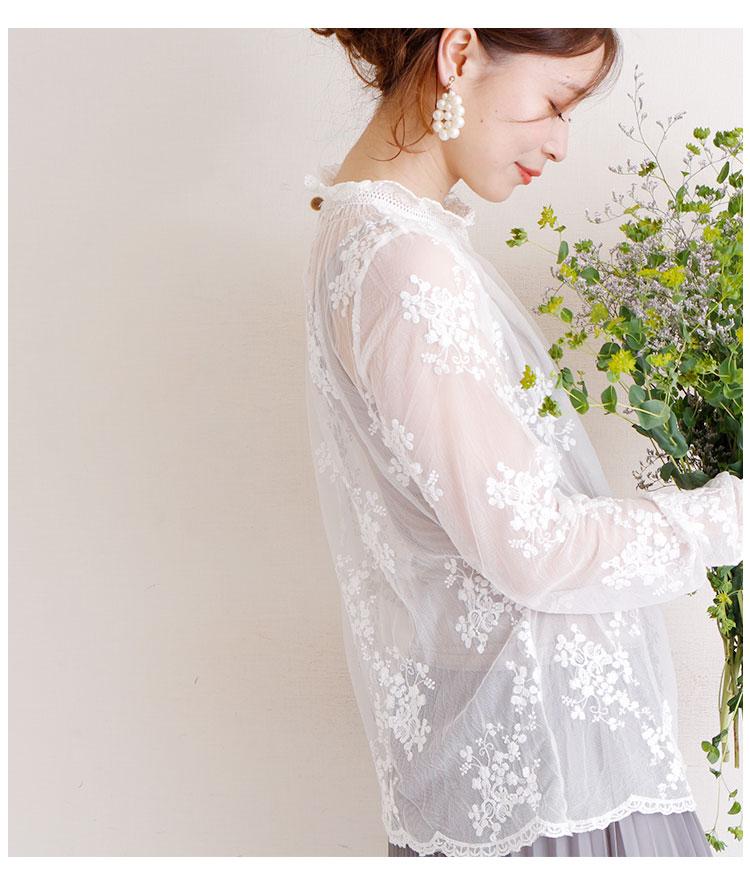 総レースの花刺繍透けトップス【7月3日8時販売新作】
