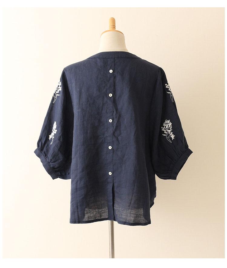 小花刺繍のリネン素材トップスブラウス【7月6日8時販売新作】
