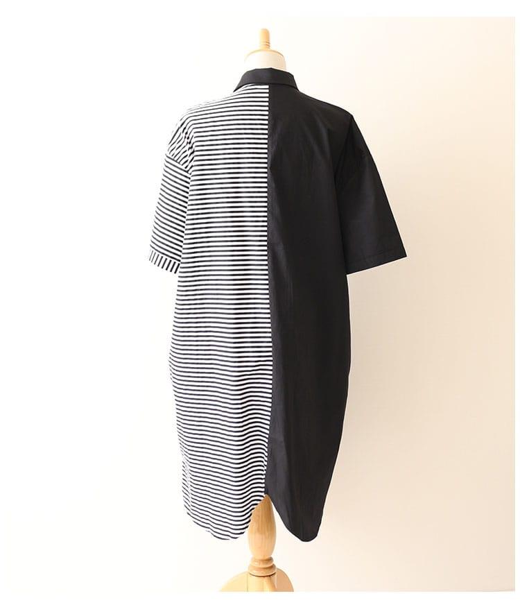 ボーダーバイカラーのシャツチュニックワンピース【7月6日8時販売新作】
