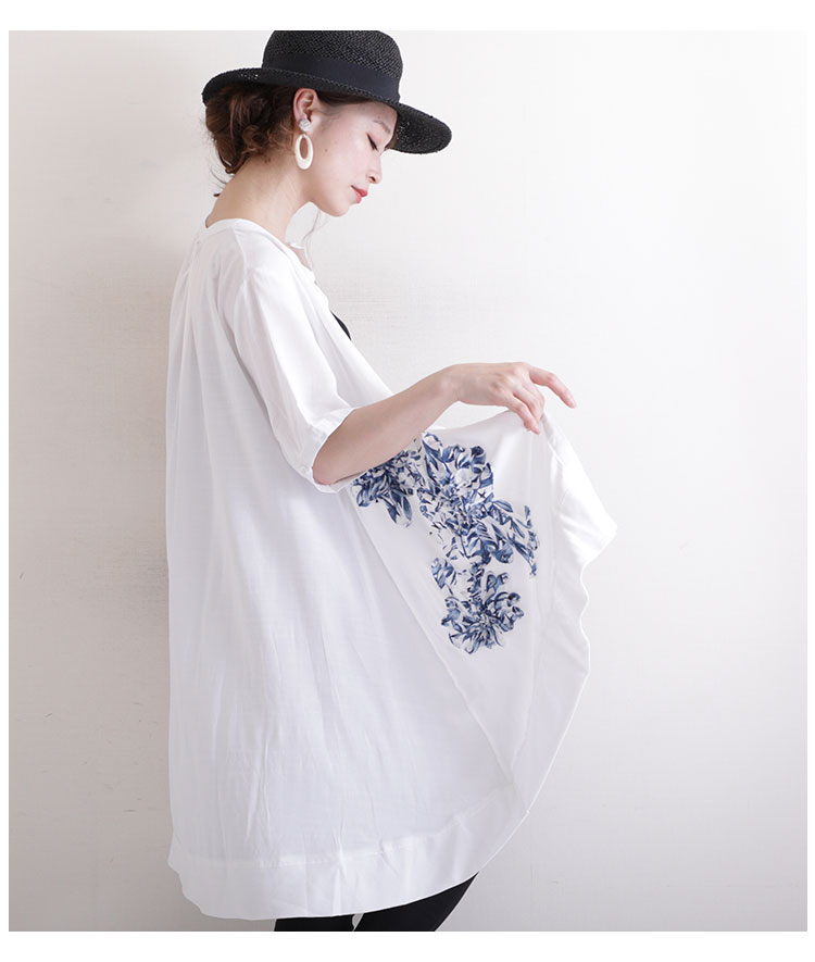花フリルのフィッシュテールシャツトップス【7月6日8時販売新作】