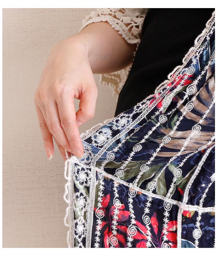 総レースと花柄ドッキングサマーカーディガン【7月10日8時販売新作】