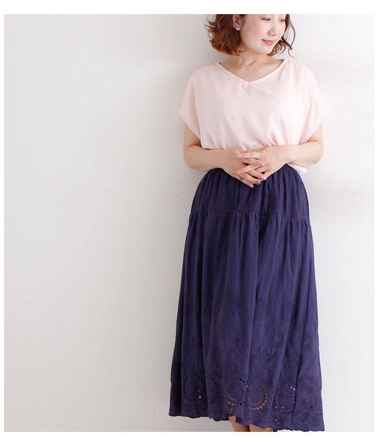 ボタニカル刺繍とカットワークギャザースカート【7月8日8時販売新作】