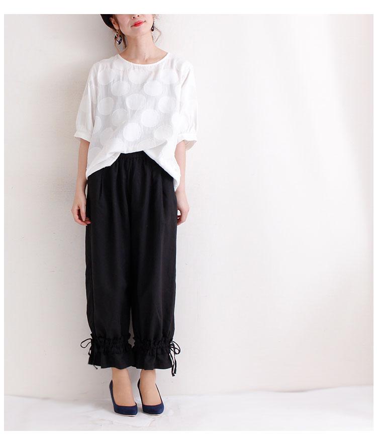 フリル裾絞りタック入りラクチンリネンパンツ【7月8日8時販売新作】