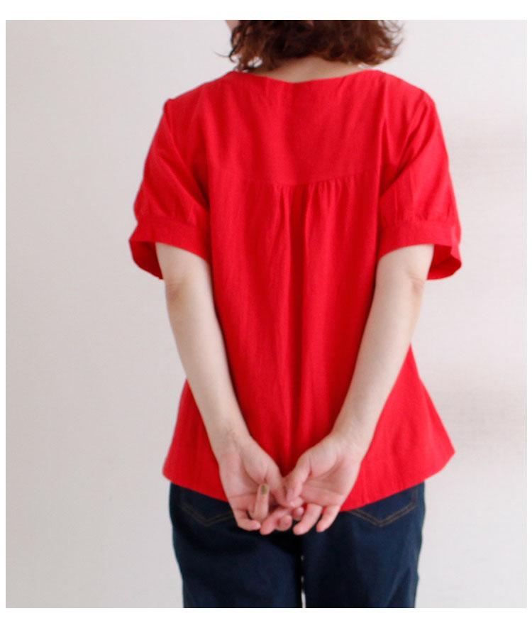 花コサージュとスキッパー襟ワイドシャツ トップス【7月10日8時販売新作】