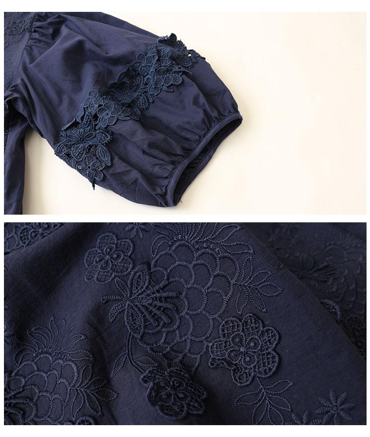 花刺繍レースとスカラップ裾のぽわん袖トップス【7月17日8時販売新作】