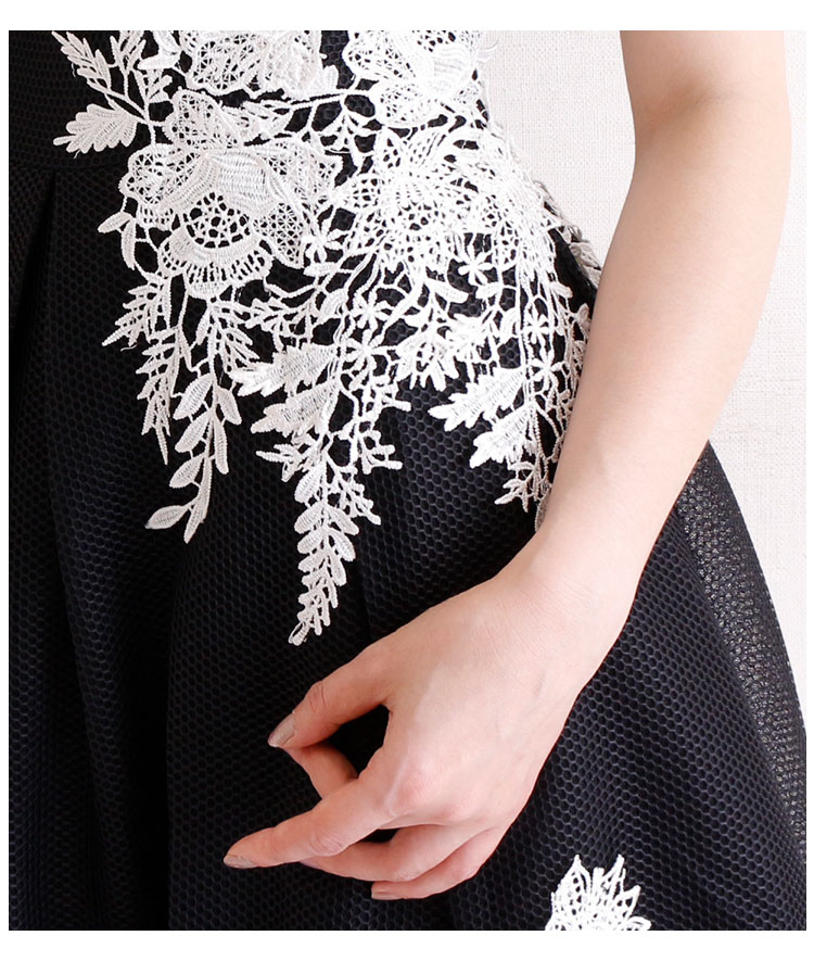 ポイント花刺繍のメッシュドレスワンピース【7月15日8時販売新作】
