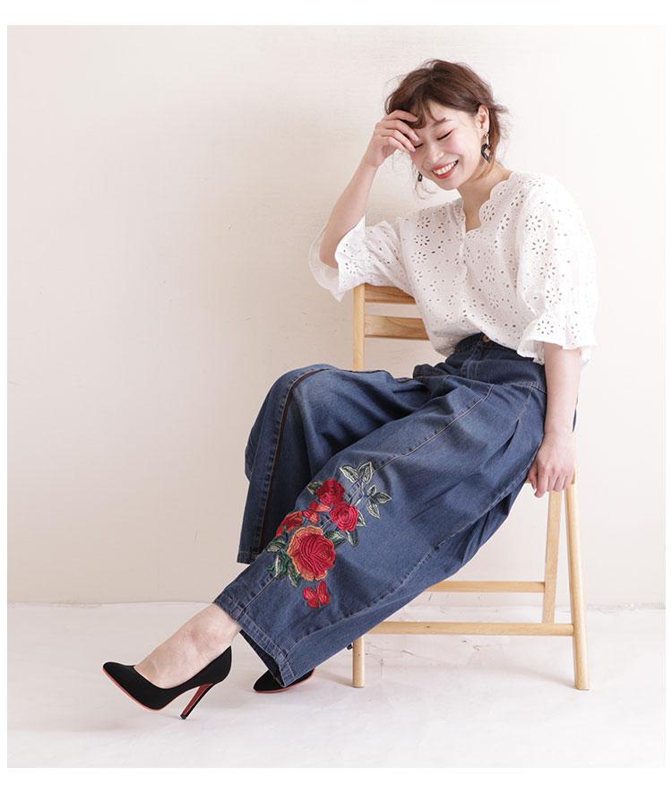 花刺繍のタック入りワイドデニムパンツ【7月20日8時販売新作】