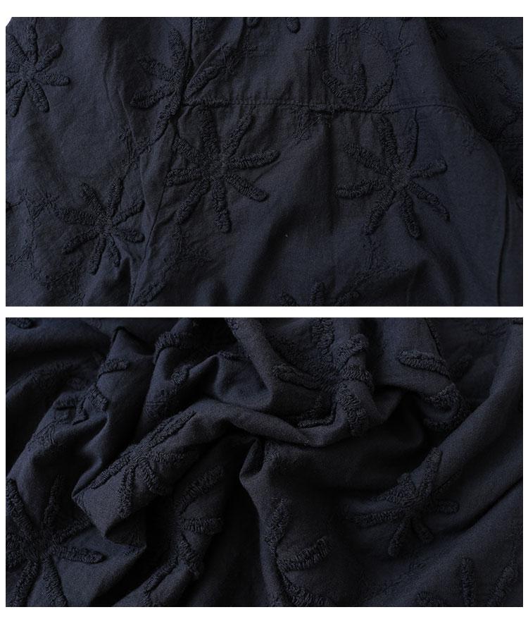 花刺繍の折柄五分袖コットントップス【7月15日8時販売新作】