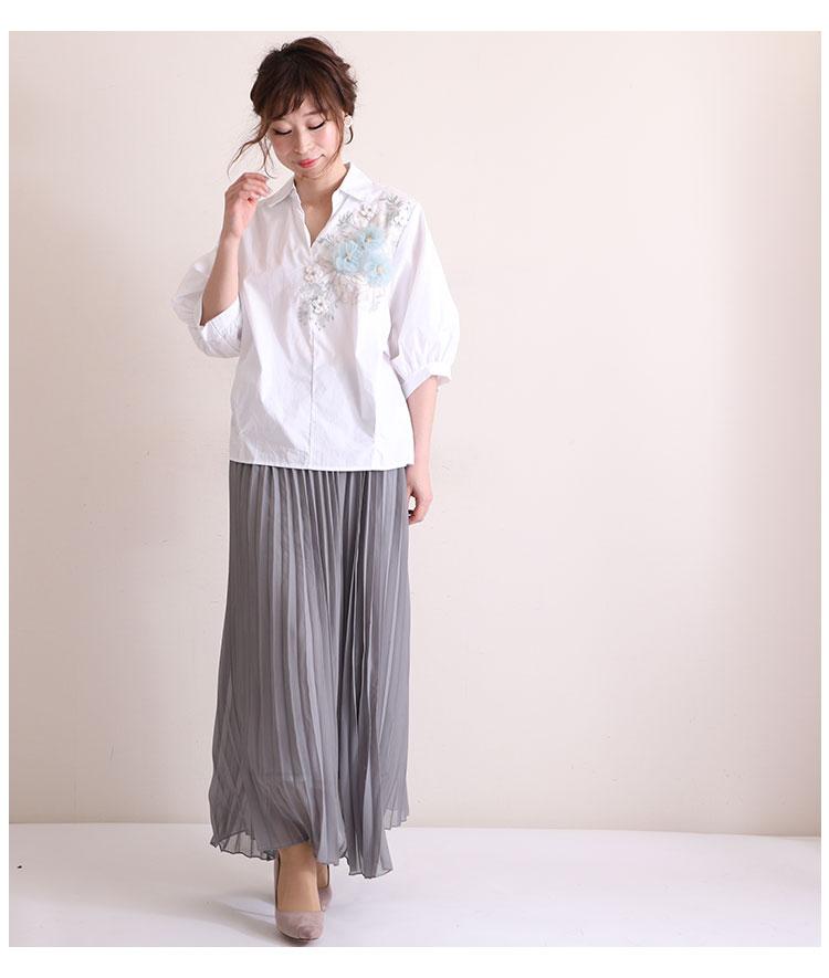 立体的な花刺繍のぽわん袖シャツトップス【8月5日8時販売新作】