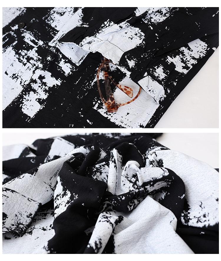 モノトーン総柄オーバーサイズシャツワンピース【8月10日8時販売新作】