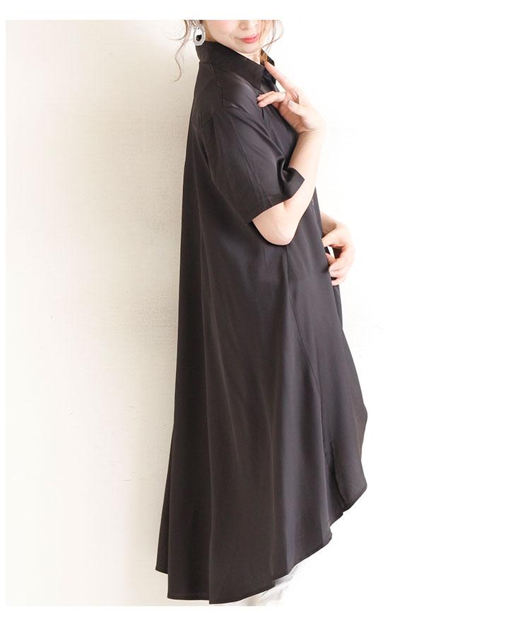 フィッシュテールの半袖サテンシャツ【8月12日8時販売新作】