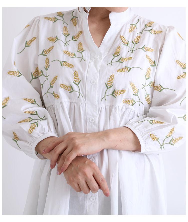 草花刺繍の切替フレアシャツチュニック【8月26日8時販売新作】