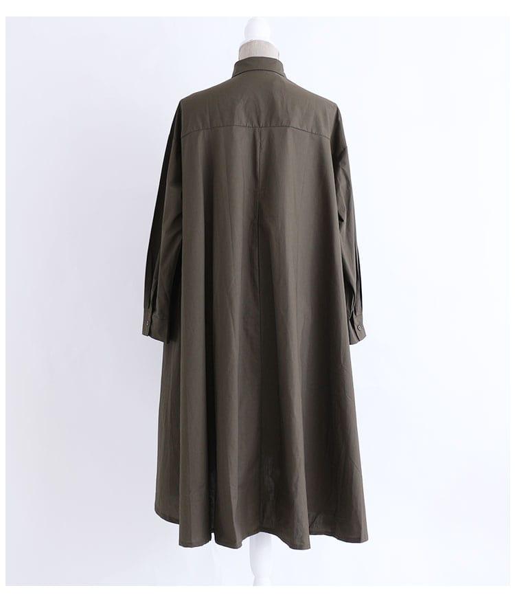Aラインのコットンシャツワンピース【9月4日8時販売新作】