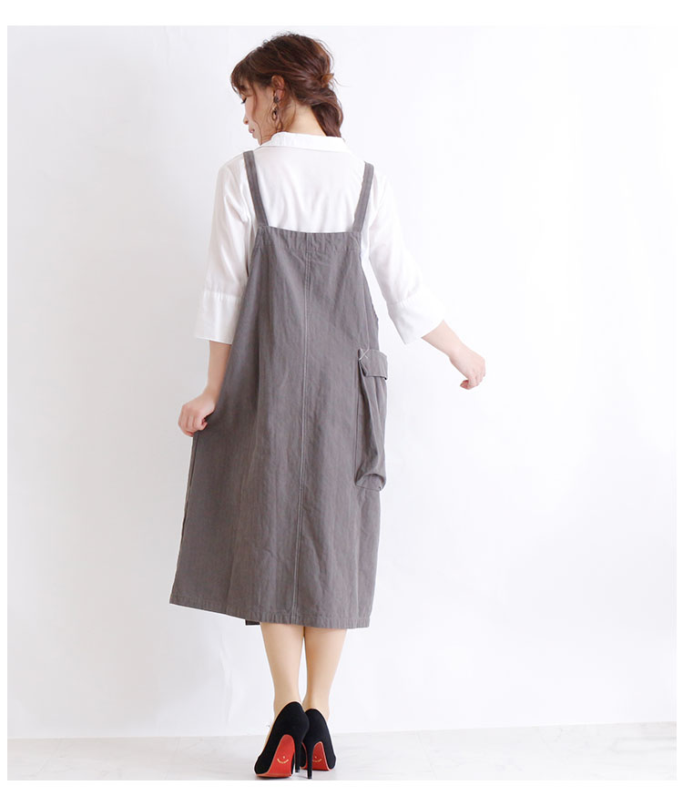 大きなポケット付きサロペットスカート【9月7日8時販売新作】