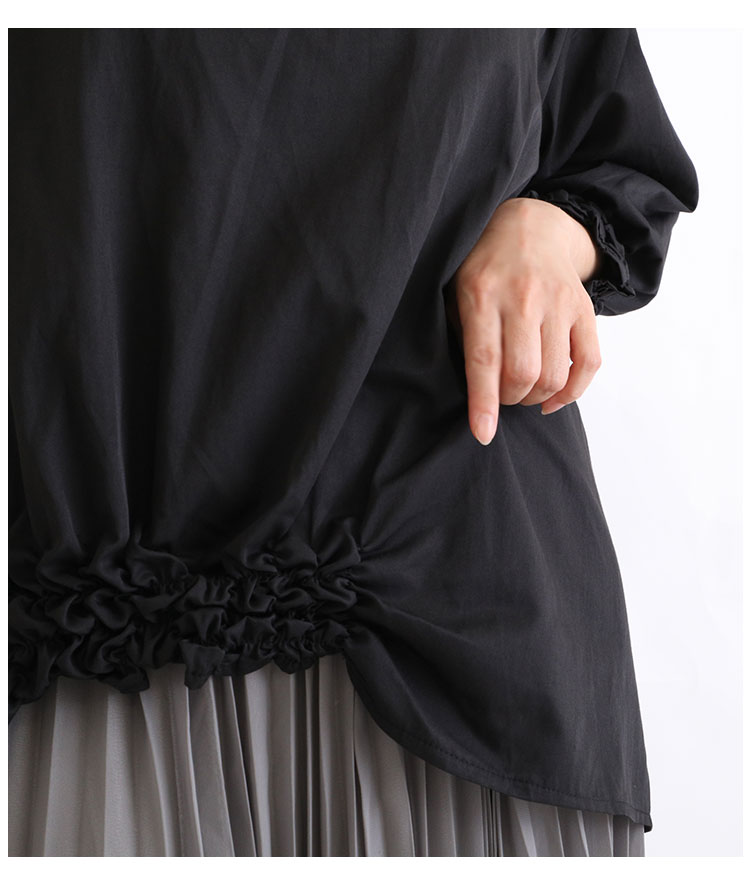 袖と裾をシャーリングであしらったトップス【9月9日8時販売新作】